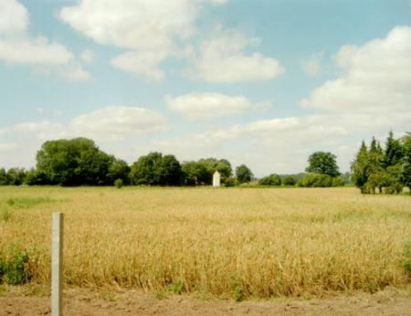 umgeben von Wiesen und Feldern